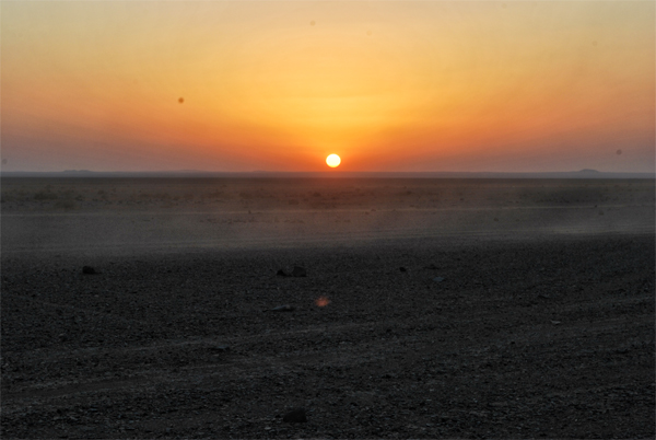 sunset in the jordanian eastern desert